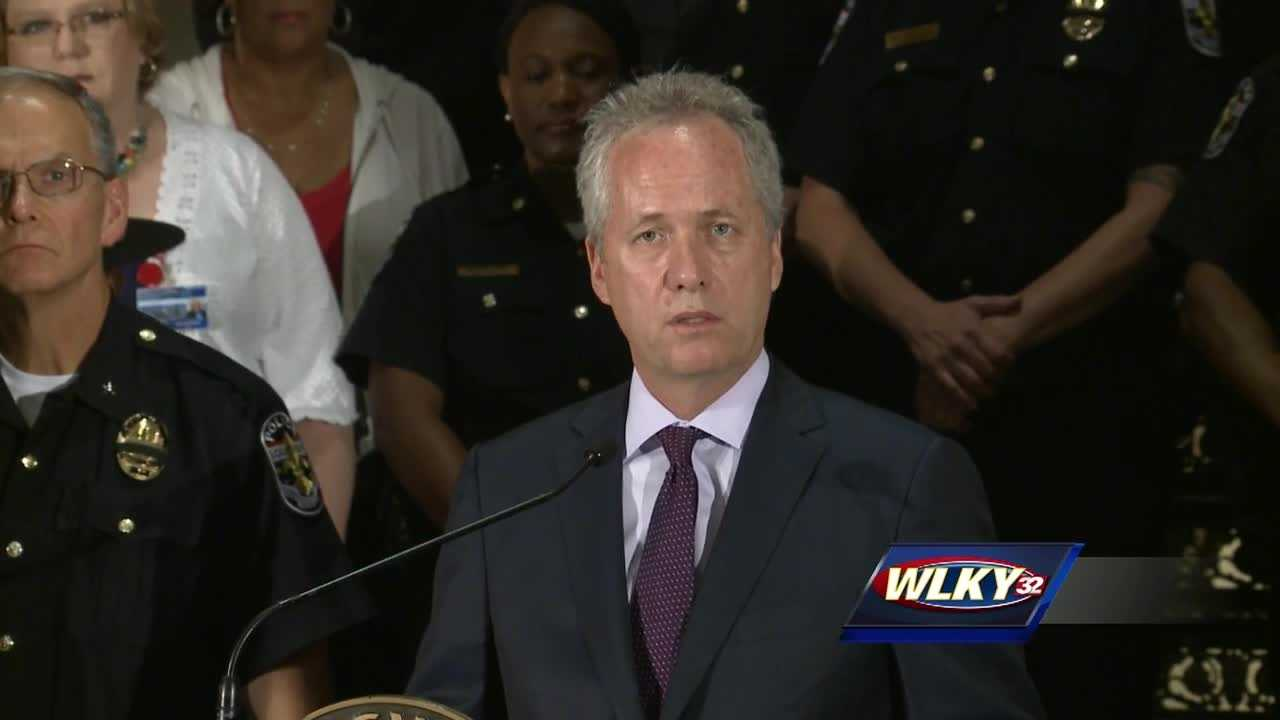 Louisville Mayor Greg Fischer joined police and community leaders Friday morning at Metro Hall in a call for peace and unity.