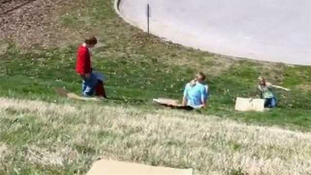 Some local kids decided to spend their spring break sledding near the reservoir.