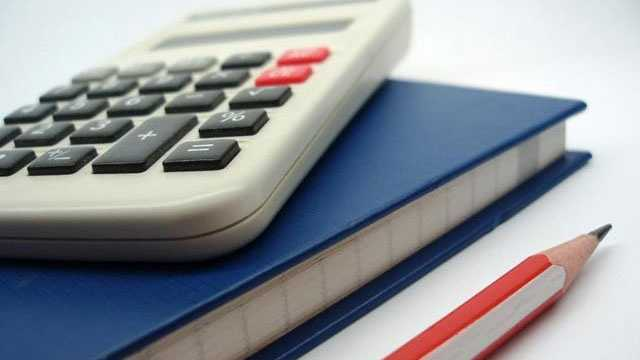 notebook, calculator, pencil, school supplies