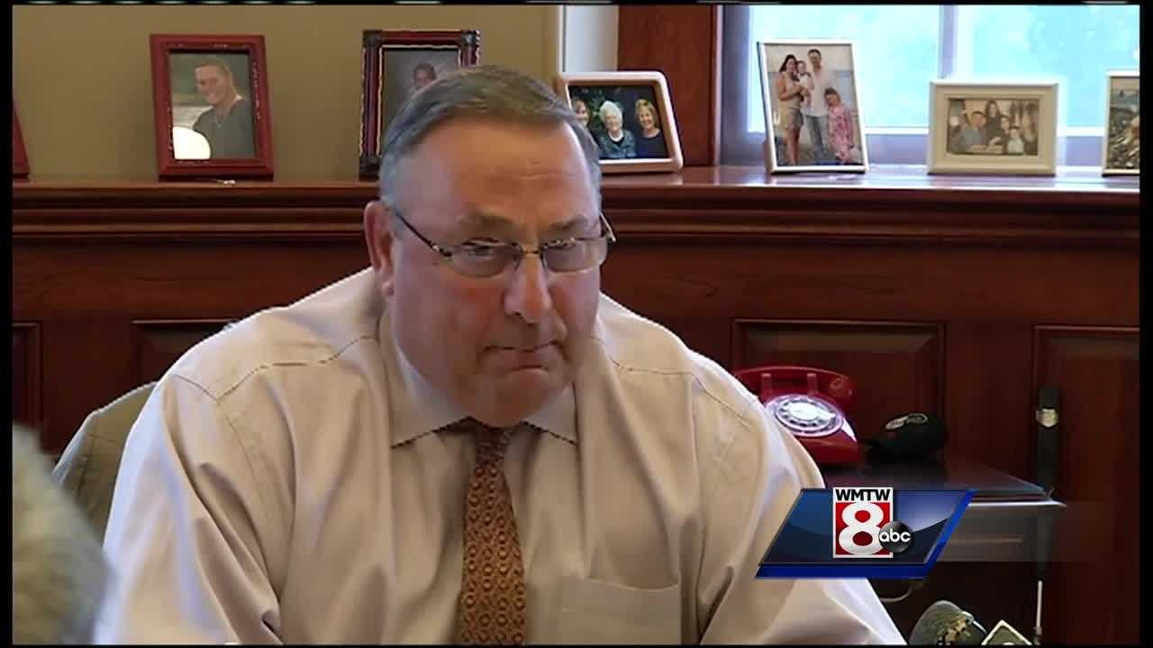 Gov. Paul LePage spoke with a hand-picked group of reporters after his meeting with Rep. Drew Gattine Wednesday morning.