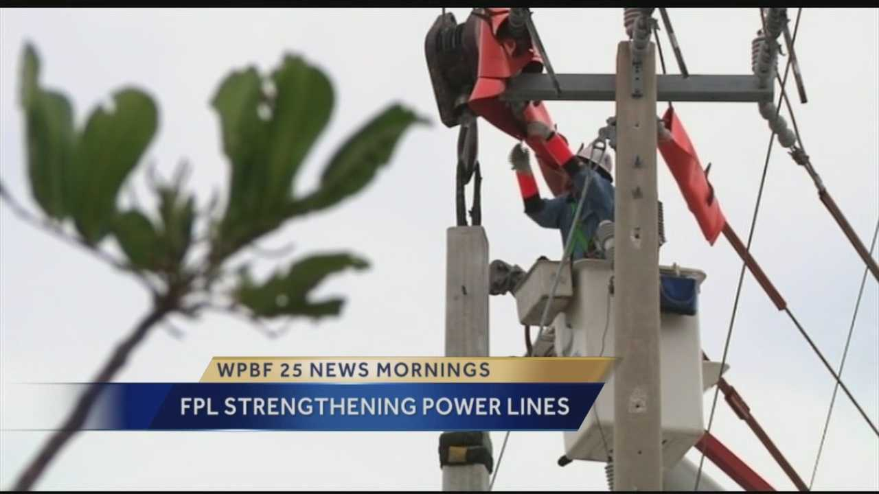 Utility crews from Florida Power & Light Company will start work Tuesday to strengthen power poles that service Palm Beach International Airport.