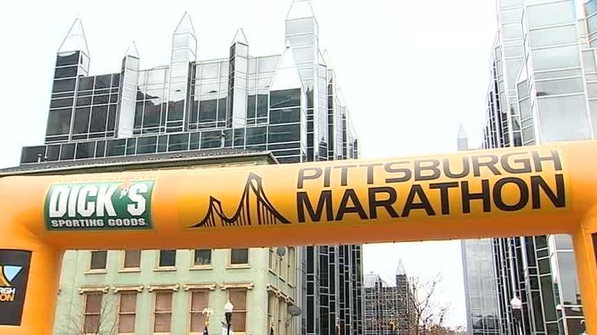 Pittsburgh Marathon banner in Market Square