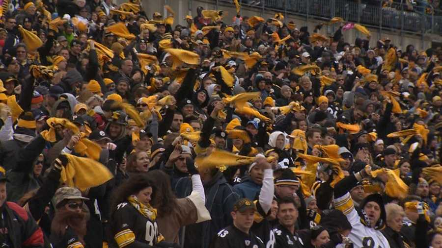 Fans at a Pittsburgh Steelers game.