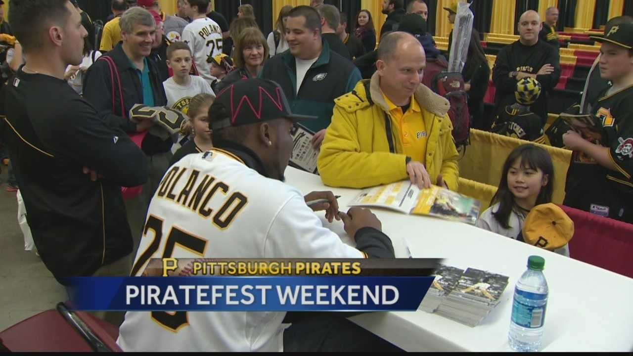 Gregory Polanco signs autographs for Pittsburgh Pirates fans at Piratefest.