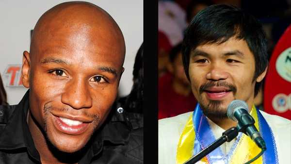 Floyd Mayweather Jr. (left), Manny Pacquiao (right)