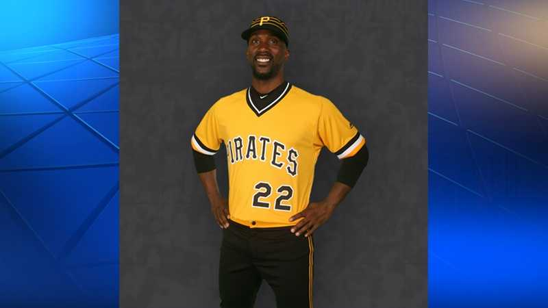 Pirates outfielder Andrew McCutchen wears a 1979 throwback jersey.