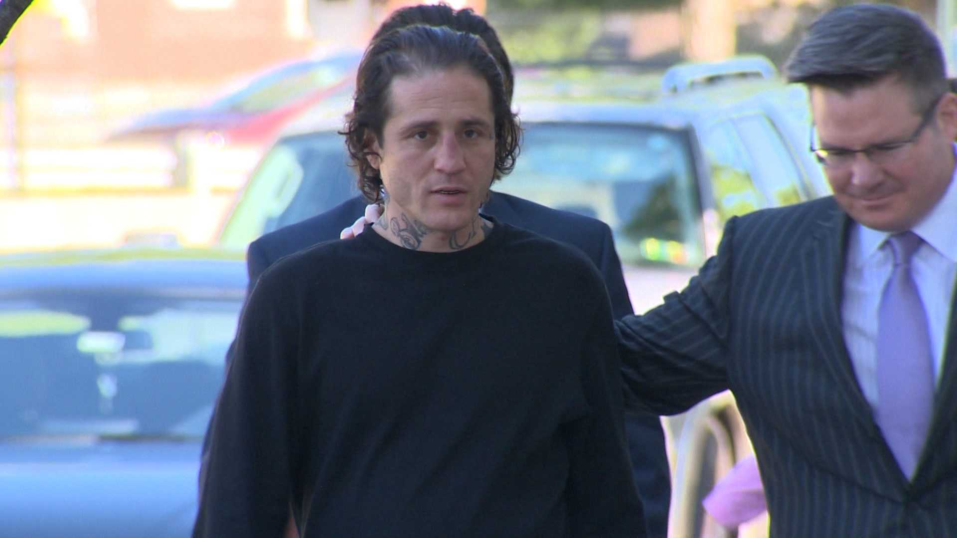 Paul Spadafora arrives for a court hearing with his lawyer.