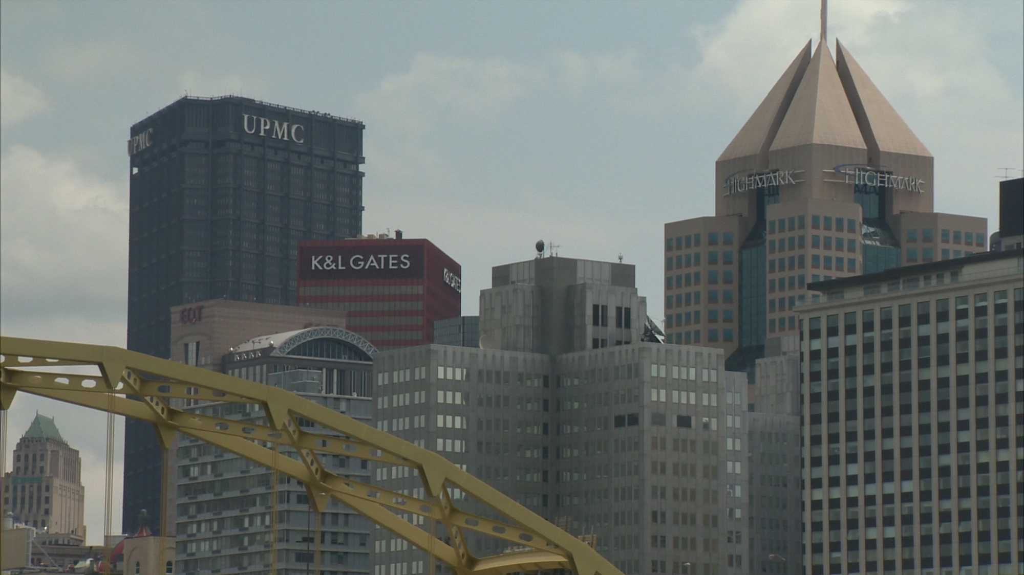 Downtown skyline, K&L Gates, UPMC, Highmark building