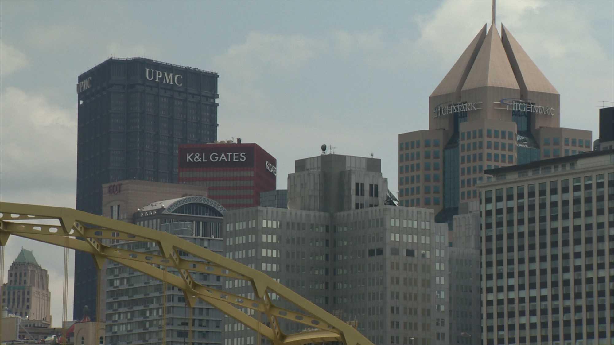 Downtown skyline, K&L Gates, UPMC, Highmark building