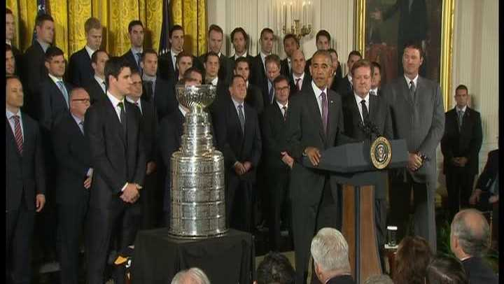 President Obama welcomed the Stanley Cup champion Pittsburgh Penguins to the White House.
