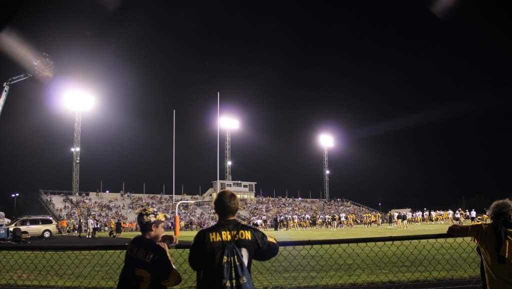 The Steelers hold a night practice at Latrobe Memorial Stadium during their training camp.
