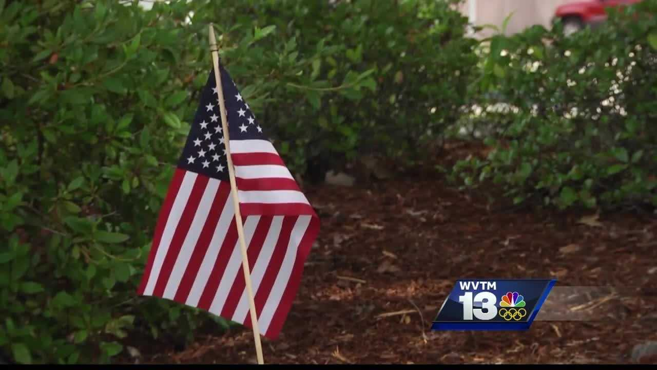 More than 100 American flags placed to commemorate law enforcement officers killed in the line of duty were vandalized over the weekend.
