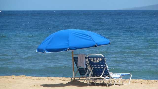 Beach chairs, umbrella, vacation, ocean