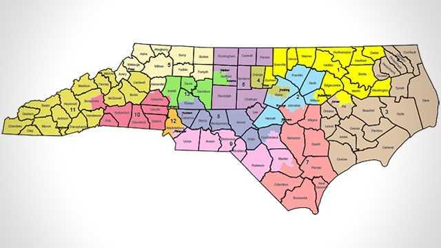 2016 North Carolina Congressional district map lines