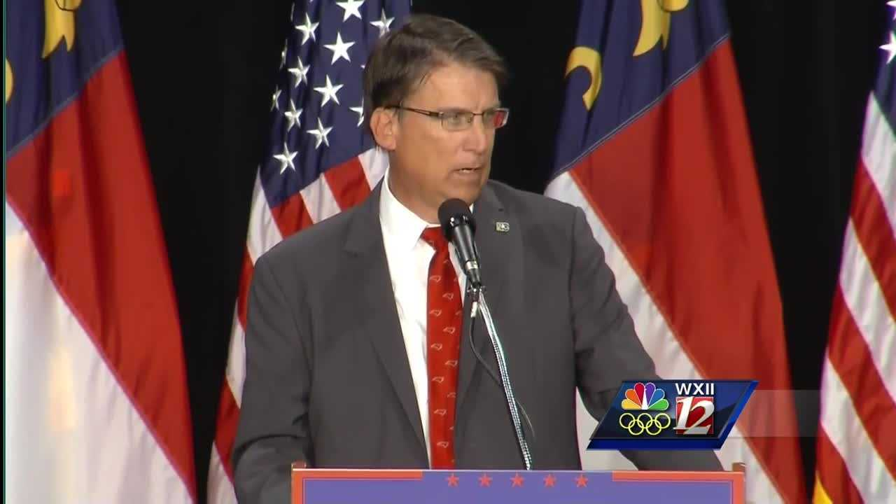 Gov. Pat McCrory introduced Republican vice presidential candidate Mike Pence at a Donald Trump rally in Winston-Salem.