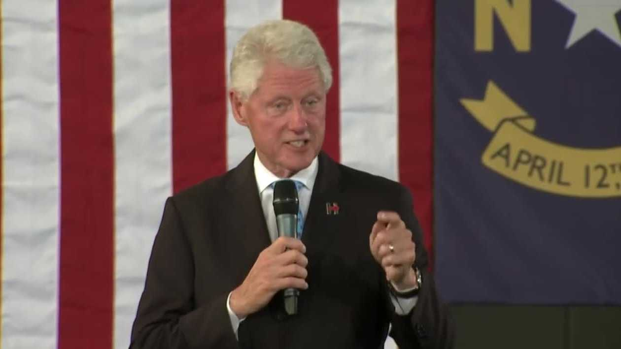 Former president Bill Clinton campaigns for his wife Hillary in Durham.