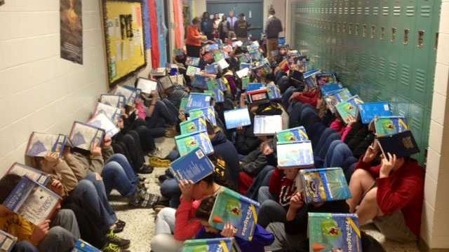 Students at Chesnee middle school participating in statewide tornado drill