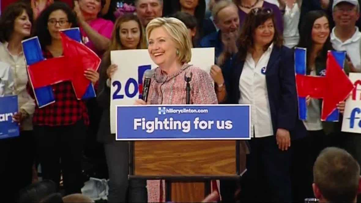 Hillary Clinton campaigning in Salinas before the 2016 presidential election.
