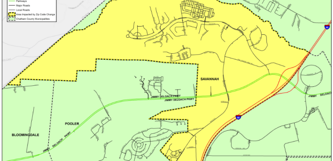 Postal Service agrees to switch parts of Pooler's addresses on map of restaurants in savannah, map of schools in savannah, map of hotels in savannah, map of neighborhoods in savannah,