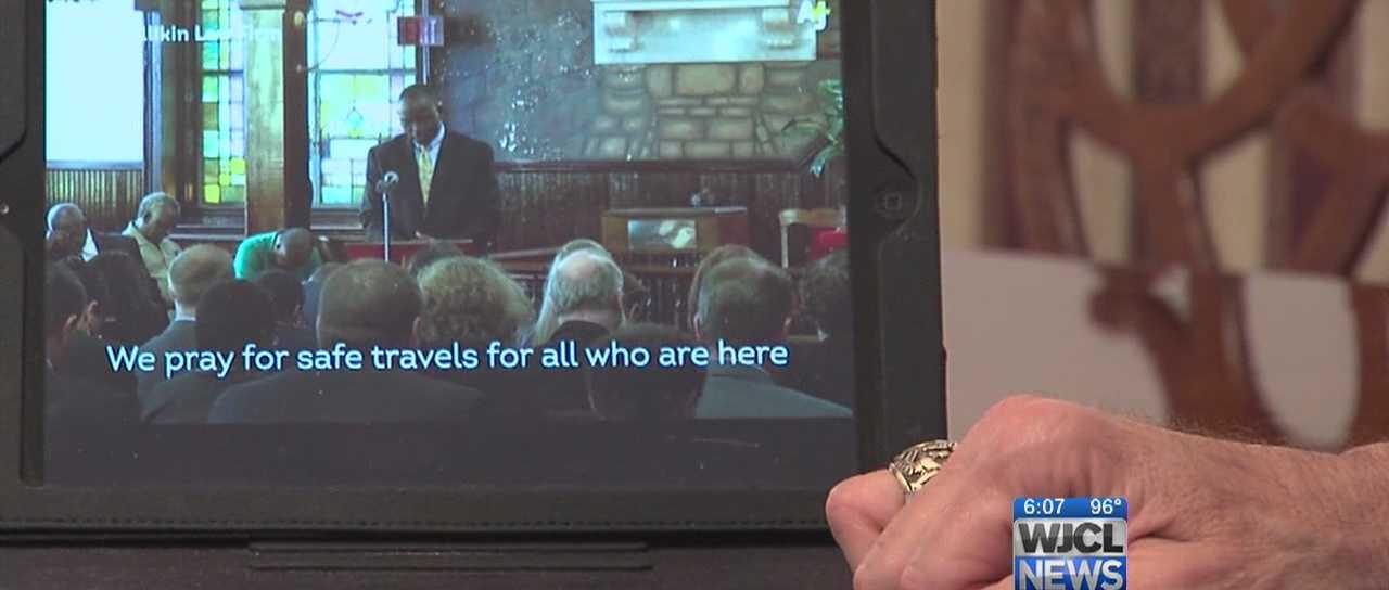 Ridgeland Mayor, Joey Malphrus watches a clip of South Carolina Senator, Clementa Pinckney.