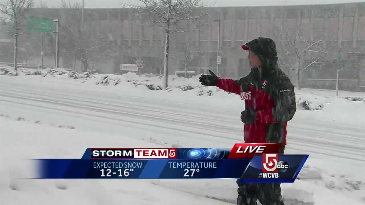 Snow piling up in Worcester