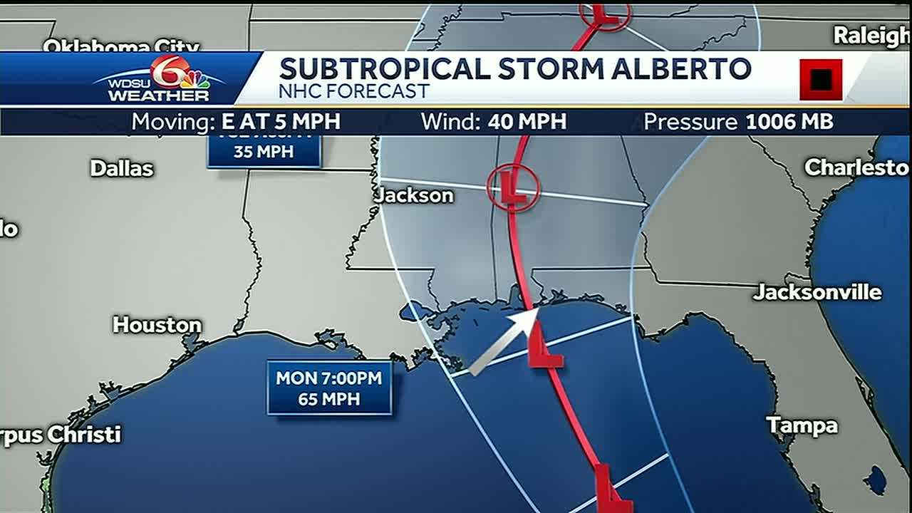 Alberto Track has shifted East