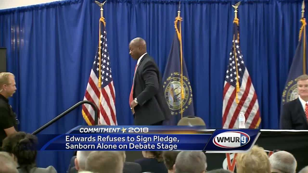Eddie Edwards walks off GOP debate stage after refusing to back Andy Sanborn