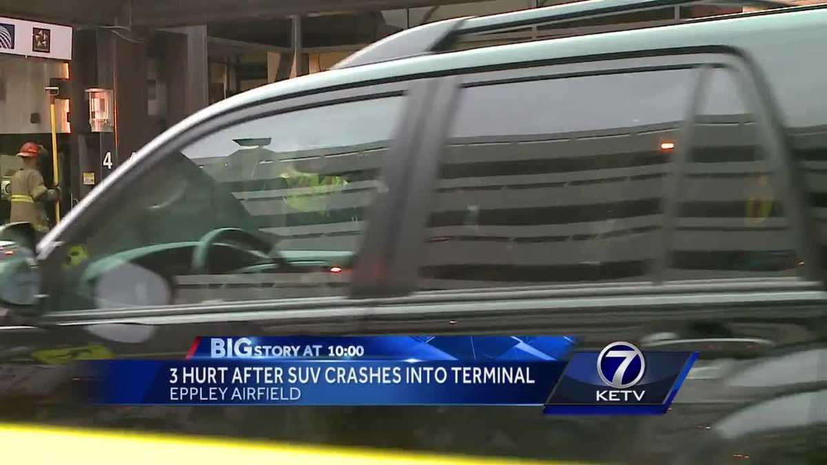 SUV crashes into Eppley terminal; three injured