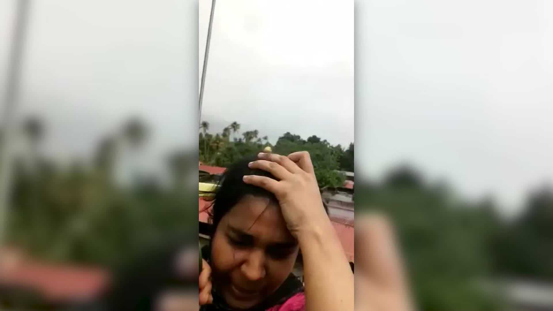 Pregnant woman stranded on roof in India during landslides goes into labor