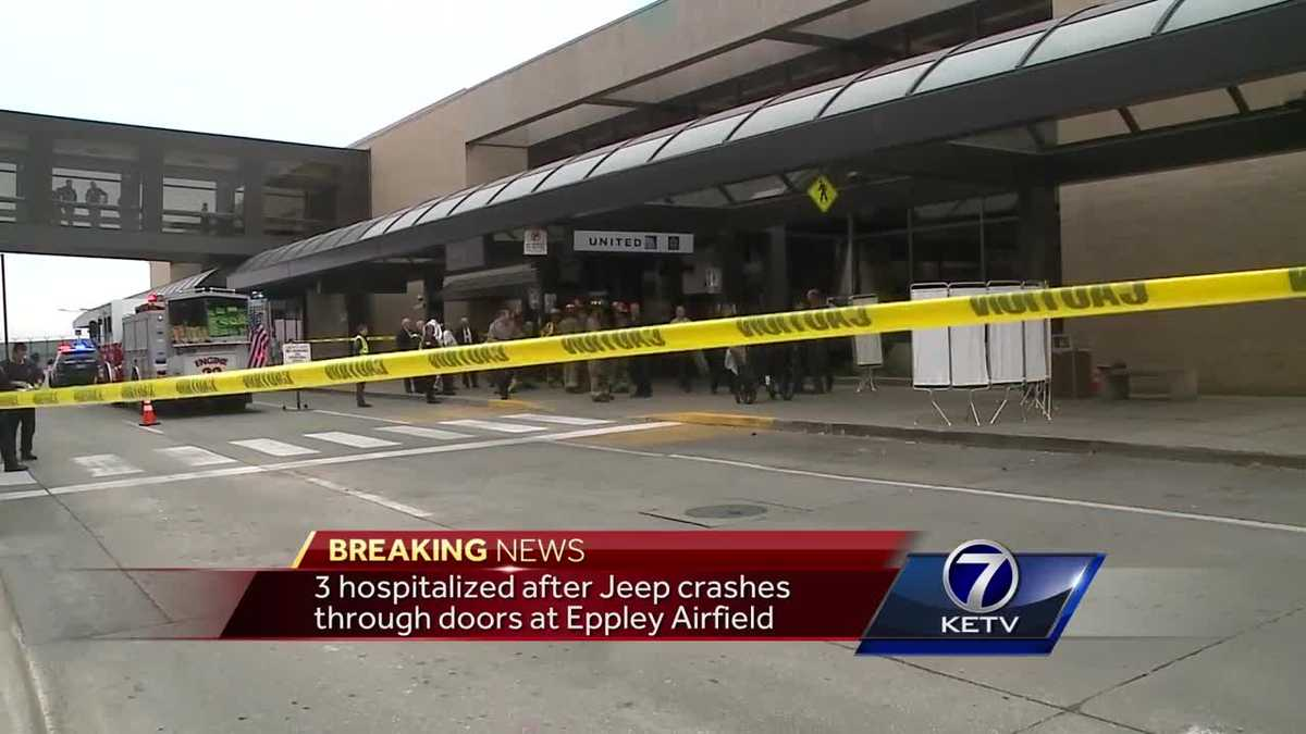 Jeep crashes into airport terminal